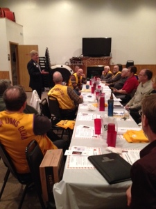 PCC Robert leads a discussion with Lion leaders in Wishek, ND.