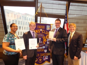 "Local winners of the Fargo Lions ""Speak Up for Service"" contest in 2014."