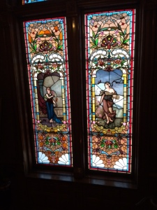 Stained glass windows in the Copper King Mansion.