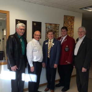 Lion Dick, Lion Rick, ID Robert, DG Shawn, & PID Art Marson at the Eye Bank.