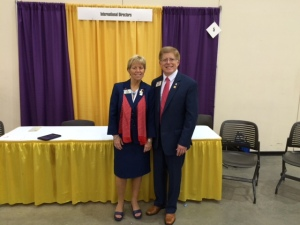 Lion Kathy and ID Robert meet Lions at the ID Booth at USA/Canada Forum