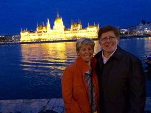 Parliament at night.