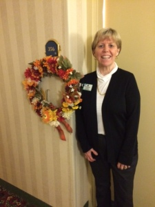 A wreath decorated our room's doorway!