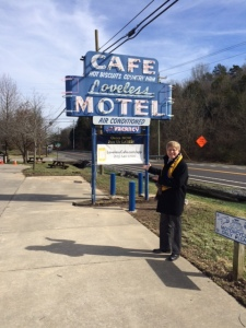 "Standing outside the ""Loveless Motel and Restaurant"""